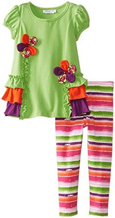 Bonnie Jean Baby Girls 3M24M Floral Ruffle Legging Set 03 Months Green -- See this great product.