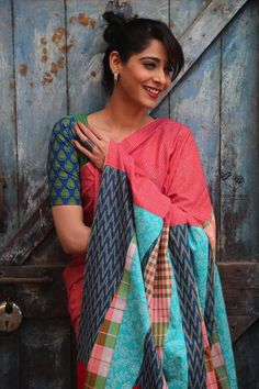 This saree has cloth from 5 Indian states. The body of the saree is Kerala Khadi and the pallu has pieces from Tamil Nadu, Andhra Pradesh, West Bengal and Rajasthan. Comes with a Gamcha blouse piece, also from West Bengal.
