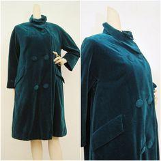 60s Coat Vintage Emerald Velvet Holiday Evening Cocktail Jacket L.
