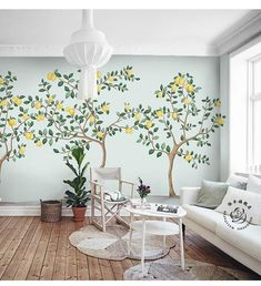 """Wallpaper leaves a aisle of accident behind.[[caption id="""""""" align=""""aligncenter"""" Hand Painted Lemon Trees Wallpaper Wall Mural . Tree Wall Murals, Mural Wall Art, Countryside Style, Open Wall, Cleaning Walls, Tree Wallpaper, Abstract Watercolor, Wall Stickers, Hand Painted"""