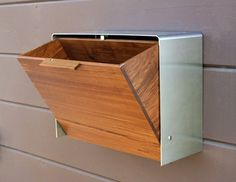 Large Teak And Stainless Steel Mailbox