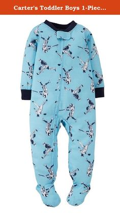 Carters Toddler Boys 1-Piece Pajamas Footed Snug Fit Cotton PJs (5t, Light Blue/Baseball). Advice: For childs safety, cotton PJs should always fit snugly.