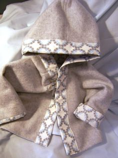 Infant Boy Gray and Blue Hooded Fleece by SoftTouchStitchery, $31.00