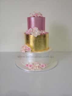I designed this 3 tier cake for my Mother inlaw's Birthday. She does so much for me, so I thought I better make her a special cake. I did a combo of traditional roses and scrunch roses to mix it up. 3 Tier Cake, Tiered Cakes, Gold Leaf Cakes, Traditional Roses, 18th Birthday Cake, Fondant, Wedding Cakes, Desserts, Three Tier Cake