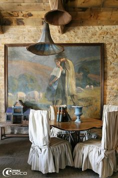In France built in the 1300's,  Love the mix of items here. Look at the lighting with that fab painting...