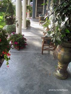 Concrete stained porch -- Maybe there is hope for that old concrete yard after all! by maryellen