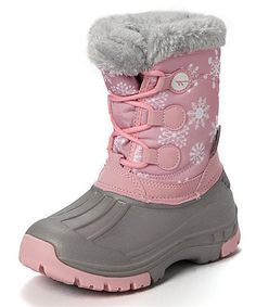 Another great find on #zulily! Pink & Gray Snowflake Snow Boot #zulilyfinds
