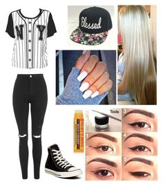 """Untitled #382"" by miamigirl98 ❤ liked on Polyvore featuring moda, Topshop, Converse ve Burt's Bees"