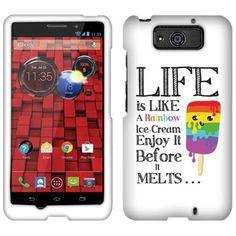 Motorola Droid MAXX XT1080M Hard Case Cover - Rainbow Ice Cream Life