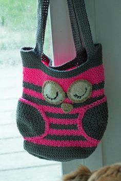 Handmade Crochet Striped Owl Tote Bag by The2HookersShop on Etsy, $24.95