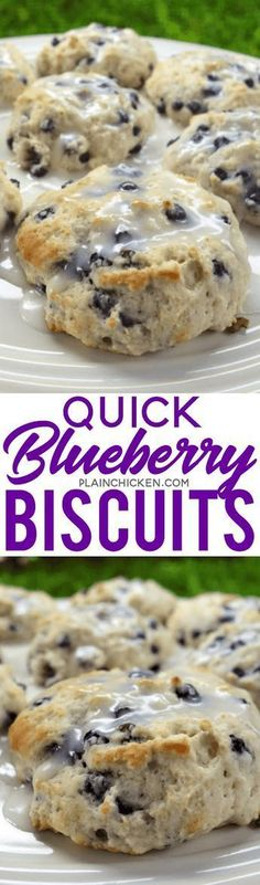 Quick Blueberry Biscuits only 4 ingredients and ready in 15 minutes Seriously delicious Bisquick sugar blueberries and buttermilk Top with a quick powdered sugar and mil. Breakfast Items, Breakfast Dishes, Best Breakfast, Breakfast Recipes, Blueberry Breakfast, Breakfast Biscuits, Breakfast Casserole, Breakfast Cake, Breakfast Smoothies