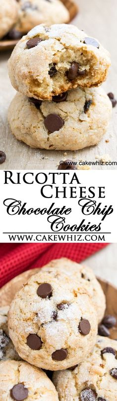 These tender RICOTTA CHEESE CHOCOLATE CHIP COOKIES are super soft and cake-like on the inside but wonderfully crispy and sugary on the outside! They are so easy to make and great as a snack or dessert! From cakewhiz.com