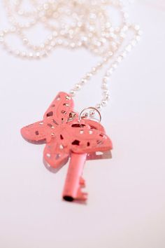 Small Skeleton Key with dark pink butterfly
