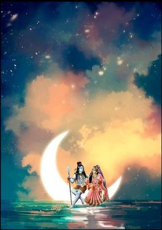 Lord Shiva and Parvati on Moon in creative art painting