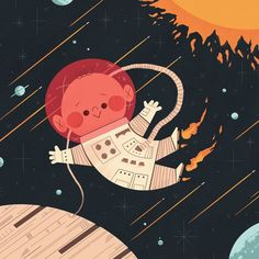 The Maryland Institute College of Art teamed up with Ten Paces & Draw to swap sketches between students and professionals based on social media hashtags! Drawing S, Art Drawings, Space Illustration, Astronaut Illustration, Illustrations Vintage, Affinity Designer, Kids Prints, Retro Futurism, Vector Art
