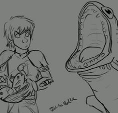 """Hungry toothless oh my gosh!! XD He's just like, """"Dump the whole bowl in my mouth please, Hiccup"""" XD and Hiccup's face!"""