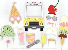 Get ready for the ice cream social with my ice cream party photo booth props! This listing is for a printable PDF of my custom ice cream birthday and sweet shoppe photobooth props, a set with 16 party decor ideas. There is a sky high ice cream cone, a melting hat, a melting mustache, and many more fun and original props. There is even an ice cream truck to frame a face!  Nothing will be emailed or shipped to you! The PDF can be downloaded directly from Etsy once payment has cleared. Detailed…