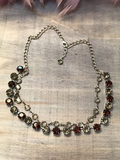 8mm Channel and Swarovski Crystal Necklace - Beautiful Black Diamond and Burgundy set in Antique Silver setting