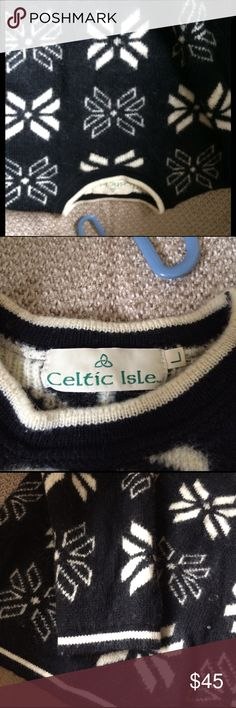 All blended sweater from Ireland Beautiful warm wool blend sweater if you're wearing the sweater there is no need for a coat! Warm and soft. Although it is marked as a large. It would be a small. Sweaters Crew & Scoop Necks