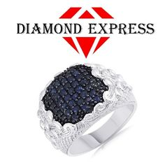 """1.00 Ct Round Cut Blue Sapphire Cluster Mens Band Ring 14K Gold """"Mother\'s Day Gift"""". Starting at $89"""