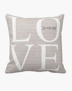 Personalized LOVE Wedding Pillow Anniversary Gift