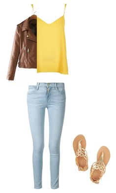 """cutsie"" by oliviamancuso on Polyvore featuring Frame Denim, Ancient Greek Sandals and River Island"