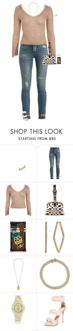 """Untitled #3771"" by stylebyfashionmerger ❤ liked on Polyvore featuring RE/DONE, Topshop, Marc Jacobs, Rolex, Giuseppe Zanotti and Linda Farrow"