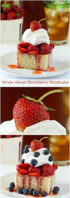 White Velvet Strawberry Shortcake – an incredibly simple but delicious version of strawberry shortcake on the lightest, most moist homemade white cake you've ever tried.
