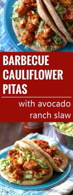 Barbecue Cauliflower Pitas with Avocado Ranch Slaw