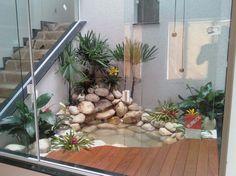 Dormir no Jardim: Lagos Jardin Zen Interior, Interior Garden, Pond Design, Garden Design, Small Water Gardens, Indoor Courtyard, Inside Garden, Garden Paving, Pond Landscaping