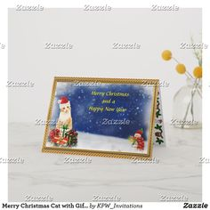 Merry Christmas Cat with Gifts Scene Holiday Card