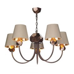 SHARD traditional 5 light copper ceiling chandelier with taupe shades
