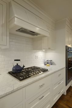 marble counters by Hello Kitchen photo by Allison Cartwright / Twist Tours Big Bathrooms, Beautiful Bathrooms, Kitchen Vent Hood, Beveled Subway Tile, Contemporary Bathroom Designs, Circa Lighting, Revere Pewter, Kitchen Photos, Luxury Kitchens