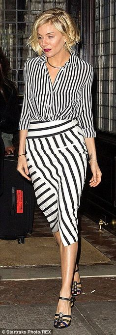 Sienna Miller pulls off clashing stripy shirt and skirt ensemble #dailymail