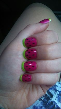 Primark watermelon nails. Loving them!!