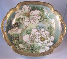 Stunning Nippon Bowl with Heavy Gold and White Pink Flowers I E Co Mark | eBay
