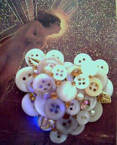 Gold HEART BROOCH  Handcrafted with Mother of Pearl by JleCROW, $9.95