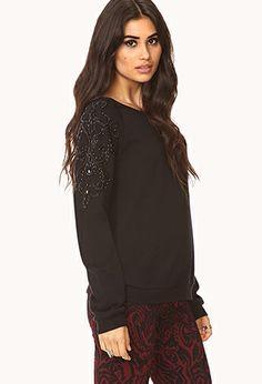 Fancy Beaded Sweatshirt | FOREVER21 - 2000093077 29.80