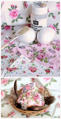 easter eggs #craft: #Serviettentechnik Ostern / #DIY #napkin eggs