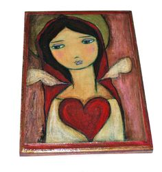 Love me Tender Angel Giclee print mounted on Wood by FlorLarios, $35.00