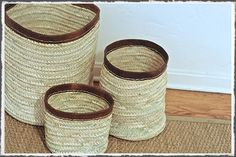 Baskets with leather trim from Olmay Home