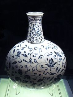 A Ming Dynasty blue and white porcelain vase; dated to 1403–1424