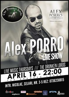 Live Thursdays with Alex Porro Live Music, Thursday, Lord, Concert, Movies, Movie Posters, Film Poster, Films, Popcorn Posters
