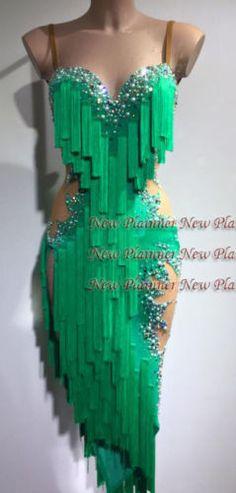 Women Ballroom Latin Rumba Salsa Dance Dress US 8 UK 10 Two Green Fringe