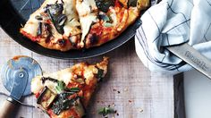 Skillet Pizza with Eggplant and Greens | Martha Stewart Living Feb 2015