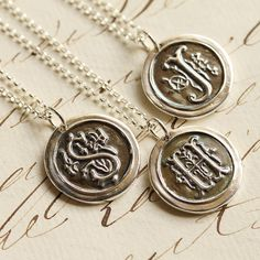 Oxidized Wax Seal Initial Necklace  Any Letter of the by Englady, $50.00