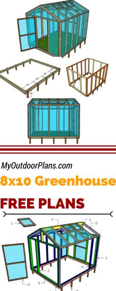 Check out my free 8x10 wood greenhouse plans, if you want to grow healthy vegetables in your own garden. Learn how to build a small greenhouse at myoutdoorplans.com #diy #greenhouse