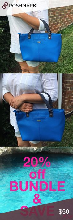 """Thirty-One Miles of Style Handbag Brand new Thirty-One Miles of Style handbag in Daring Cobalt Pebble.  Can be worn as a satchel or crossbody.    Zipper closure, over the shoulder strap  Exterior cell phone pocket  Two interior flat pockets and        one set of snaps for additional        pockets that can be added        (sold separately) Approx:     10""""H x 12""""L (at base)      16""""L (at top) x 3.5""""D Thirty-One Bags"""