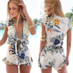 Fashion Floral Print Deep V-neck Sleeveless Jumpsuits - Pants & Shorts - Clothing