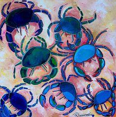 Blue Crab Paintings - Blue Crabs by Patti Schermerhorn